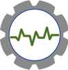 Advanced Farm Monitoring icon - heartbeat line in gear